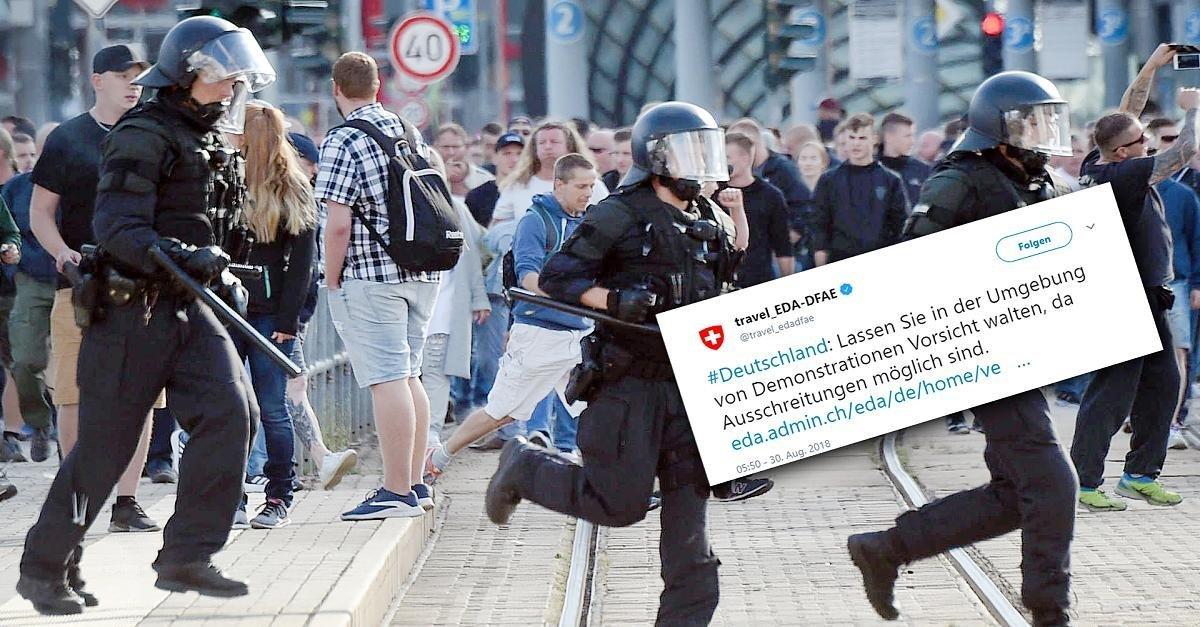 Wegen Chemnitz: Schweiz warnt Deutschland-Reisende