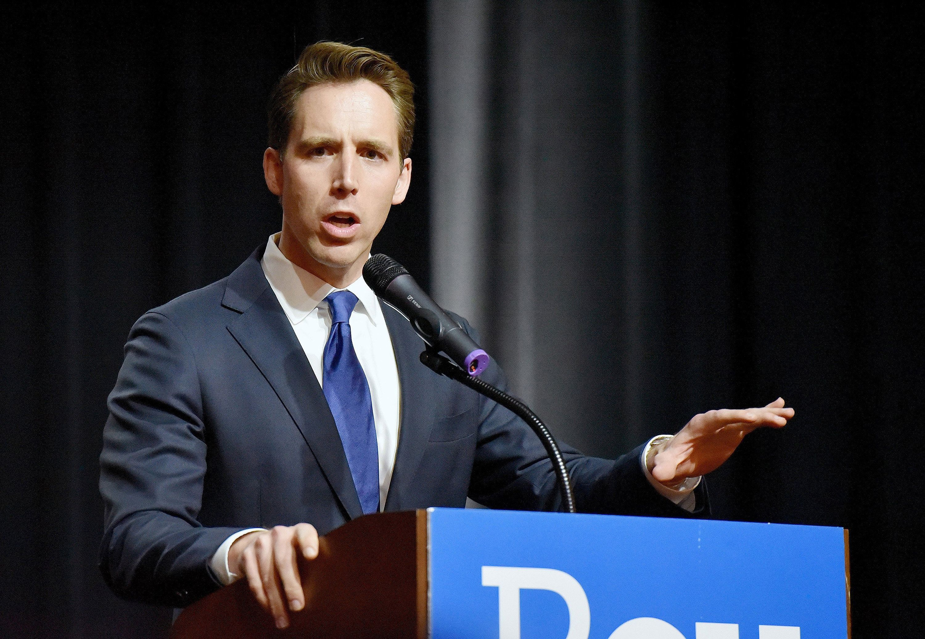 Missouri Attorney General Josh Hawley makes his acceptance speech on Nov. 9, 2016, in Springfield, Mo. On Tuesday, Aug. 7, 2018, he secured the Republican nomination to take on Democratic Sen. Claire McCaskill in November. (John Sleezer/Kansas City Star/TNS via Getty Images)