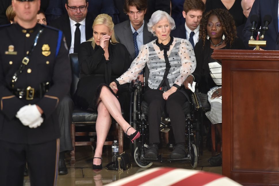 Roberta McCain, age 106, mother of the late senator, and granddaughter Meghan McCain attend the ceremony.