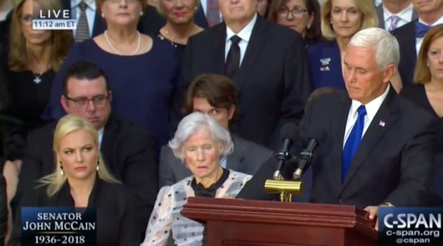 Meghan McCain glares at US Vice President Mike Pence as he speaks as her late father's funeral
