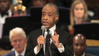 DETROIT, MI - AUGUST 31:  Rev. Al Sharpton speaks at the funeral for Aretha Franklin at the Greater Grace Temple on August 31, 2018 in Detroit, Michigan. Franklin died at the age of 76 at her home in Detroit on August 16.  (Photo by Scott Olson/Getty Images)