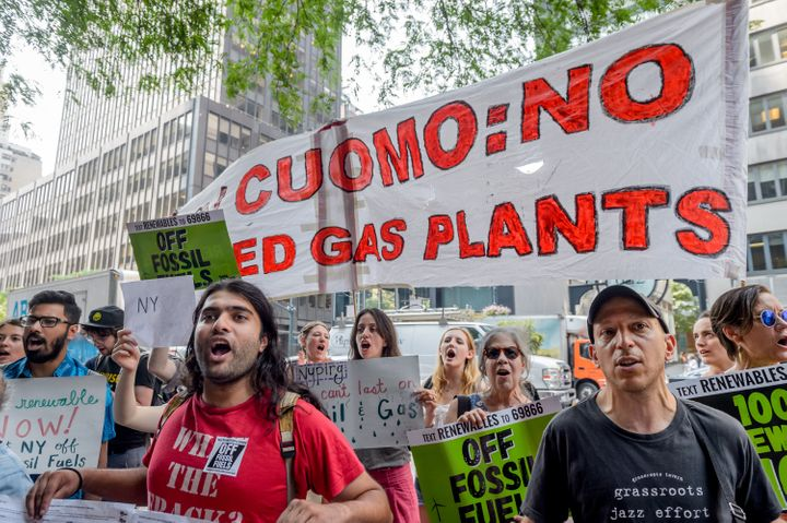 A large crowd of New York climate activists organized a rally outside Cuomo's Manhattan office on Aug. 16.