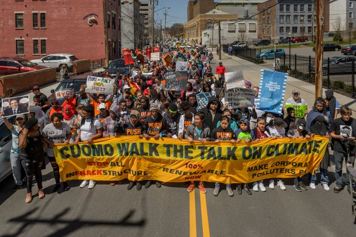 More than 1,500 people marched through Albany in April as part of the city's largest climate protest.