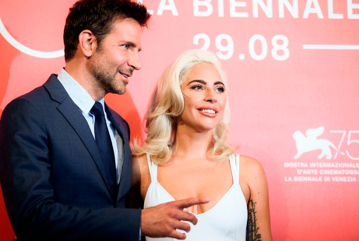 Cooper and Gaga at a photo call for the film on Aug. 31.