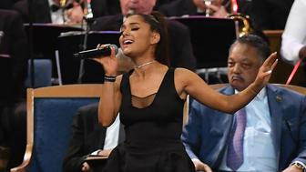 Ariana Grande performs during Aretha Franklin's funeral at Greater Grace Temple on August 31, 2018 in Detroit, Michigan. (Photo by Angela Weiss / AFP)        (Photo credit should read ANGELA WEISS/AFP/Getty Images)