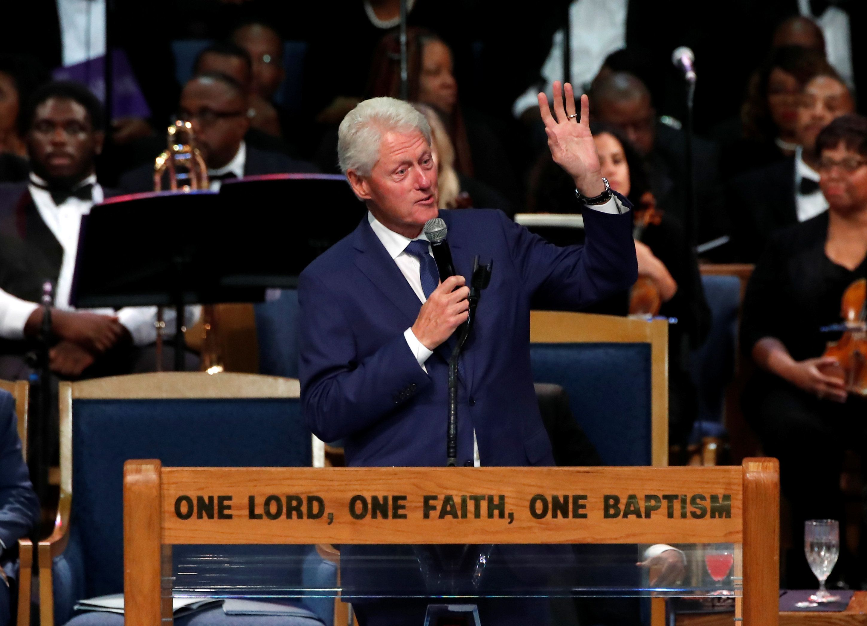 Former President Bill Clinton speaks at the funeral service for the late singer Aretha Franklin at the Greater Grace Temple