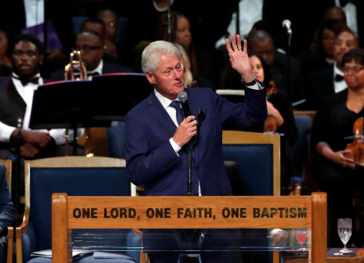 Former President Bill Clinton speaks at the funeral service for the late singer Aretha Franklin at the Greater Grace Temple i
