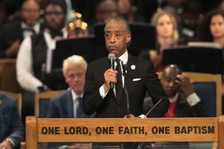 Rev. Al Sharpton speaks at the funeral for Aretha Franklin at Detroit's Greater Grace Temple on Aug. 31, 2018.