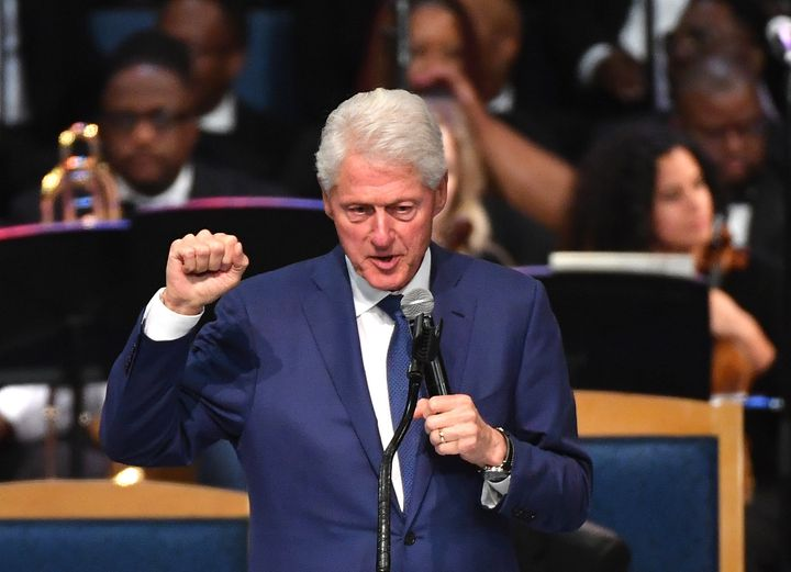 Former U.S. President Bill Clinton speaks during Aretha Franklin's funeral.