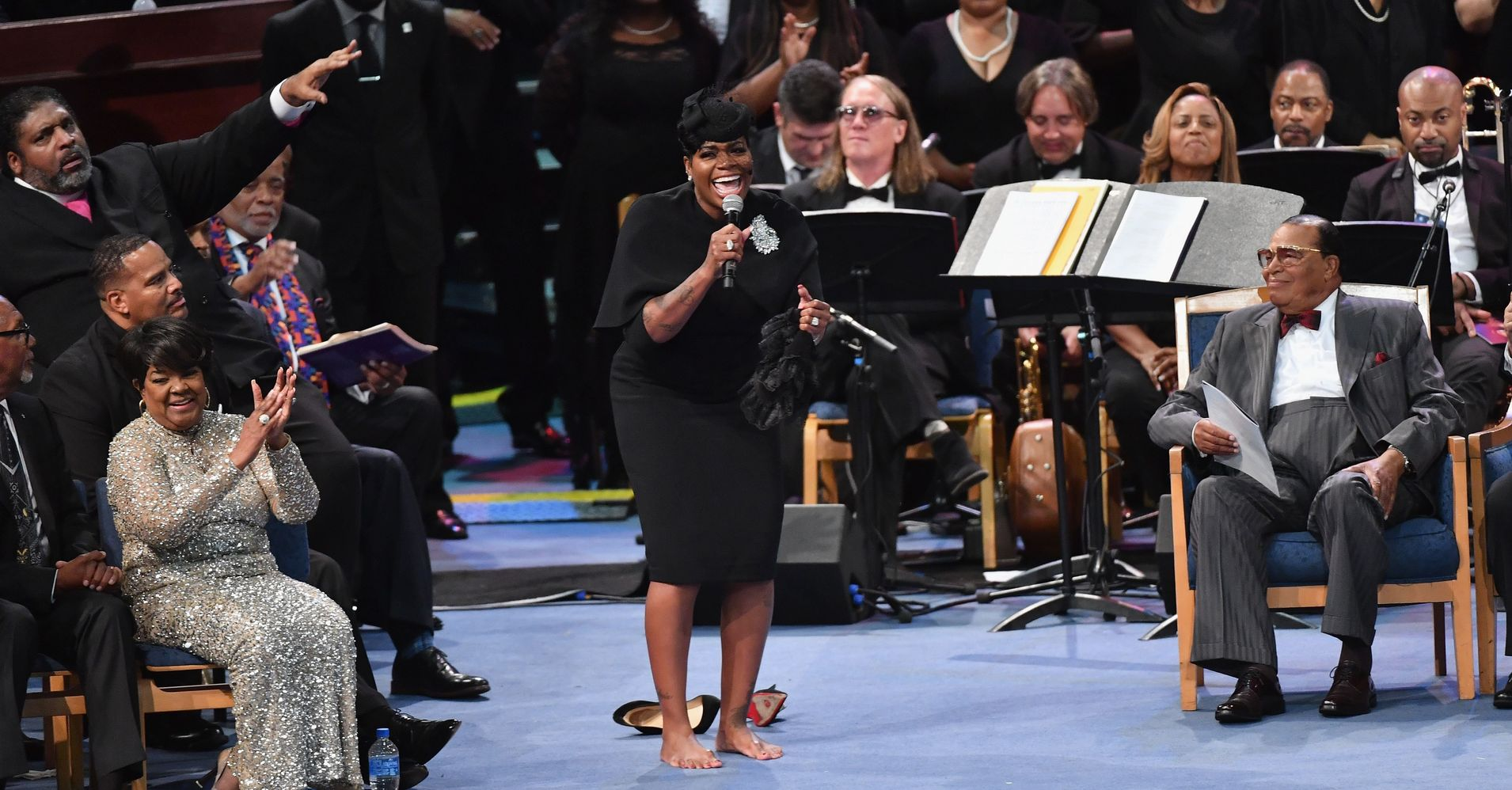 22b928f3644 A Barefoot Fantasia Barrino Sings Soulful Tribute At Aretha Franklin s  Funeral