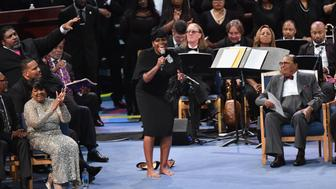 Fantasia Barrino-Taylor performs at Aretha Franklin's funeral at Greater Grace Temple on August 31, 2018 in Detroit, Michigan. (Photo by Angela Weiss / AFP)        (Photo credit should read ANGELA WEISS/AFP/Getty Images)