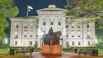 Raleigh, NC - April 17, 2018: Statue commemorating Presidents James Polk, Andrew Jackson and Andrew Johnson at the North Carolina Capitol Building in Raleigh
