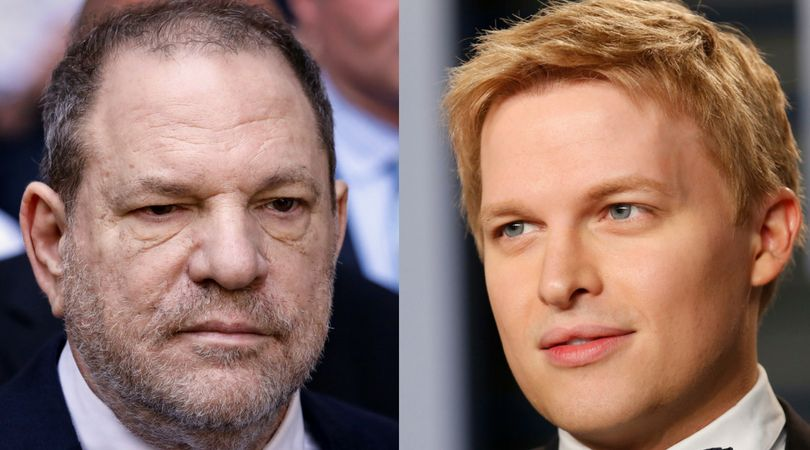 NBC is still furiously denying reports that top executives actively quashed Ronan Farrow's (R) explosive story on Harve