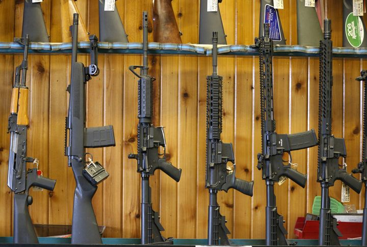 Semi-automatic AR-15 rifles for sale at Good Guys Guns & Range on Feb. 15, 2018, in Orem, Utah.