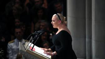 WASHINGTON, DC - SEPTEMBER 1:  Meghan McCain delivers a eulogy during the funeral service for U.S. Sen. John McCain at the National Cathedral  on September 1, 2018 in Washington, DC. The late senator died August 25 at the age of 81 after a long battle with brain cancer. McCain will be buried at his final resting place at the U.S. Naval Academy. (Photo by Mark Wilson/Getty Images)