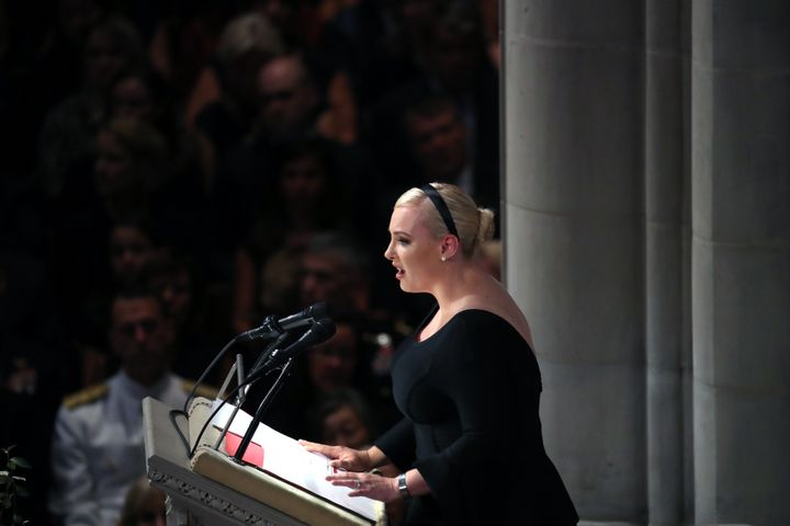 Meghan McCain delivers a eulogy for her late father, Sen. John McCain, at the National Cathedral in Washington on Saturday.