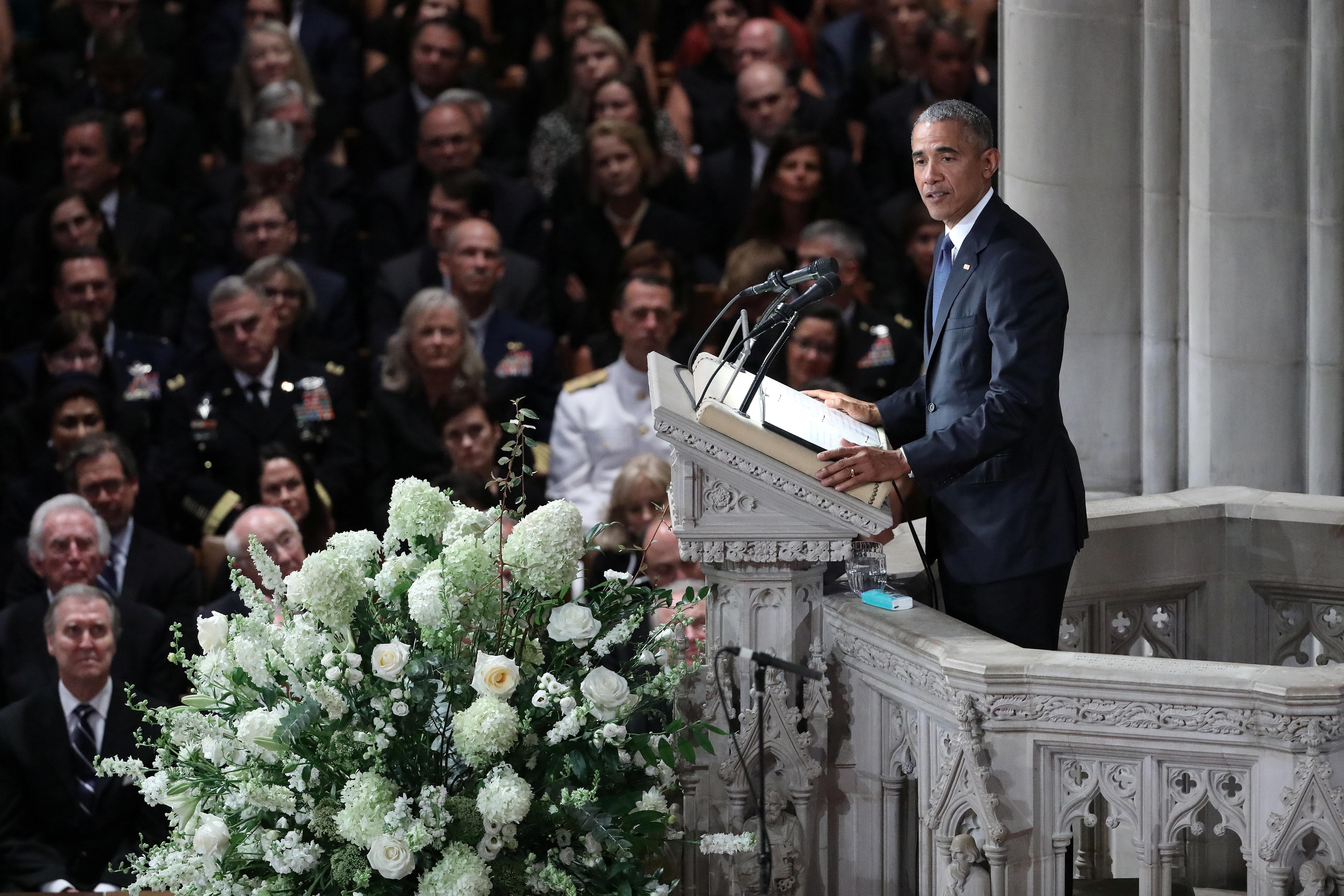 Former U.S. President Barack Obama speaks at the memorial service of U.S. Senator John McCain (R-AZ) at National Cathedral in Washington, U.S., September 1, 2018.      REUTERS/Chris Wattie