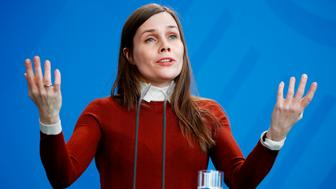 Iceland's Prime Minister Katrin Jakobsdottir gestures as she gives joint press statements with the German Chancellor prior to their talks on March 19, 2018 at the Chancellery in Berlin. / AFP PHOTO / Odd ANDERSEN        (Photo credit should read ODD ANDERSEN/AFP/Getty Images)