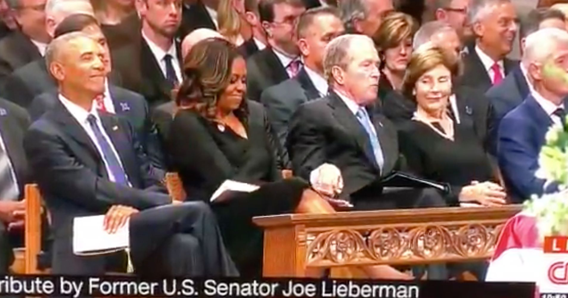 Did George W. Bush Just Sneak Michelle Obama A Piece Of Candy At McCain's Funera...