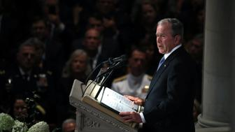 WASHINGTON, DC - SEPTEMBER 1:  Former U.S. President George W. Bush speaks during the funeral service for U.S. Sen. John McCain at the National Cathedral  on September 1, 2018 in Washington, DC. The late senator died August 25 at the age of 81 after a long battle with brain cancer. McCain will be buried at his final resting place at the U.S. Naval Academy. (Photo by Mark Wilson/Getty Images)