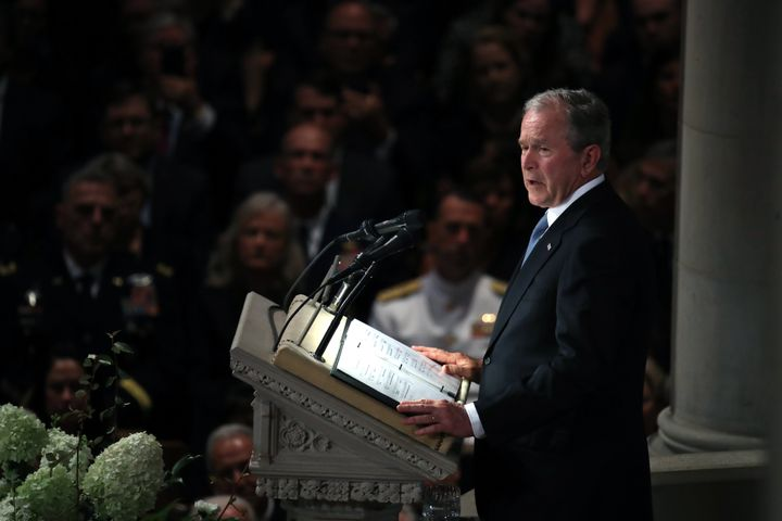 Former President George W. Bush speaks during a memorial service for Sen. John McCain at the National Cathedral in Washington