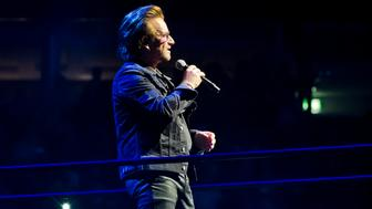 BERLIN, GERMANY - AUGUST 31: Singer Bono of the Irish band U2 performs live on stage during a concert at the Mercedes-Benz Arena on August 31, 2017 in Berlin, Germany. (Photo by Frank Hoensch/Getty Images)