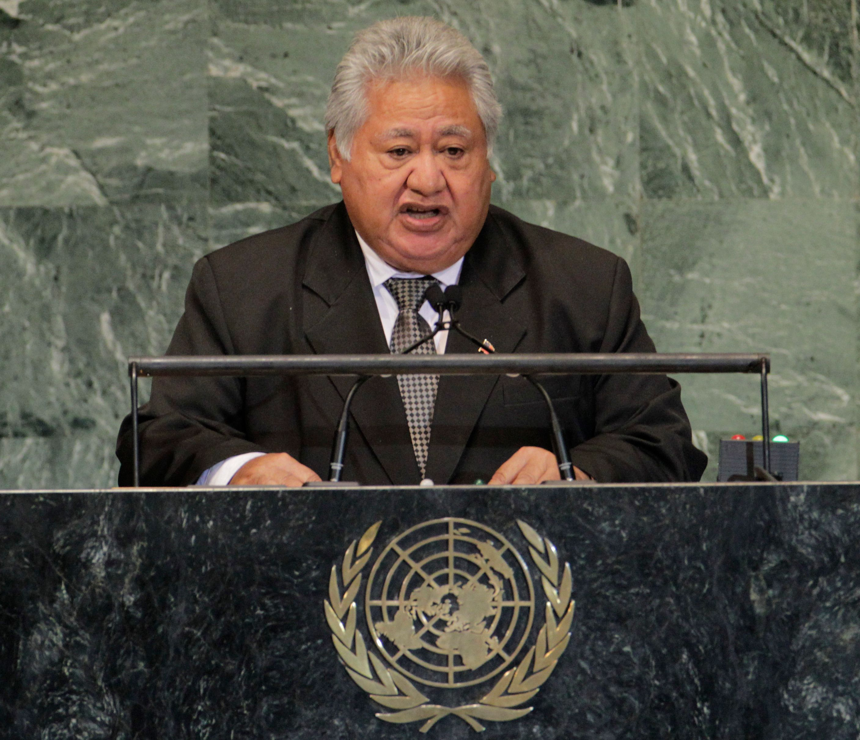 Samoan Prime Minister Tuilaepa Sailele Malielegaoi addresses the 67th United Nations General Assembly at the U.N. Headquarters in New York, September 28, 2012.  REUTERS/Brendan McDermid (UNITED STATES - Tags: POLITICS)