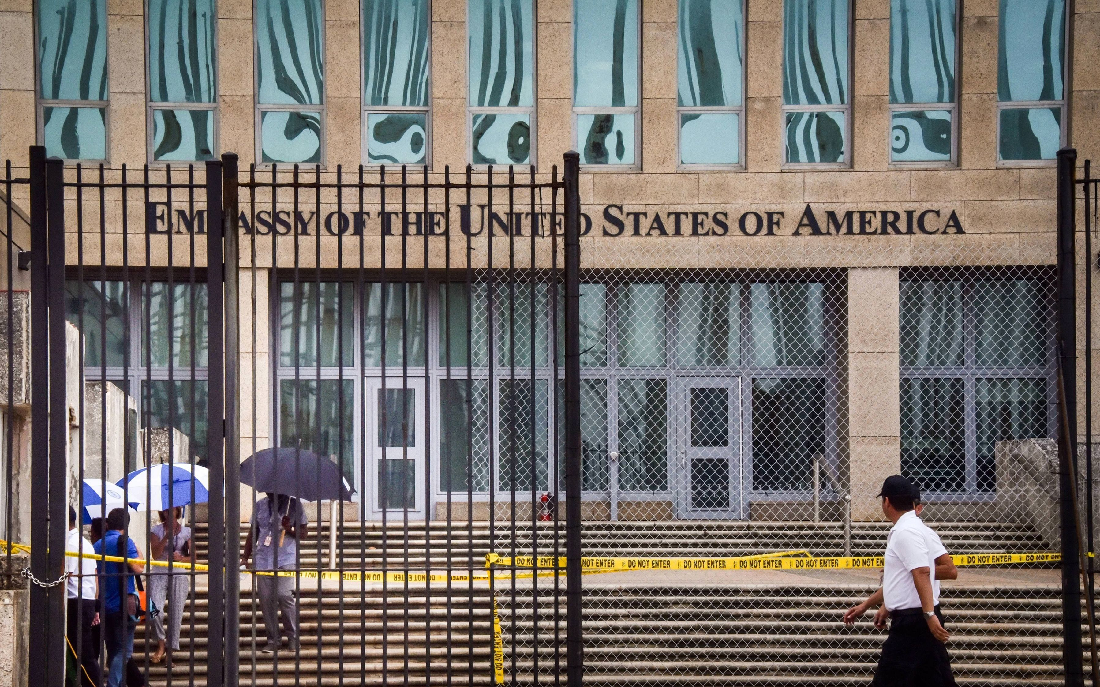 "A photo of the U.S. embassy in Havana taken on Sept. 29, 2017, after the U.S. announced its <a href=""https://www.straitstimes"