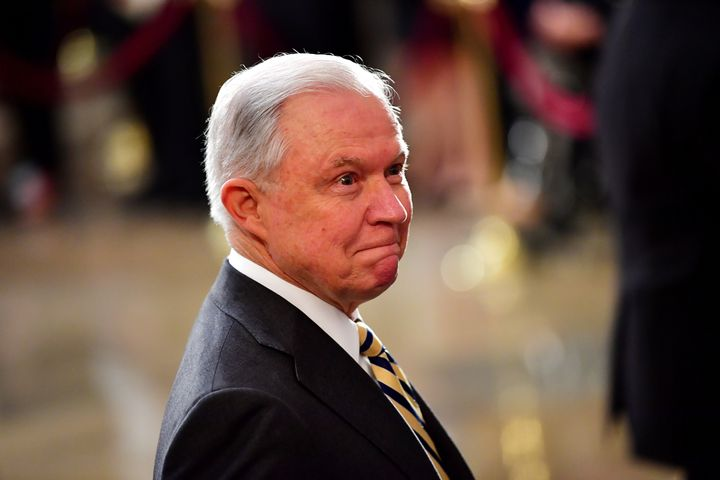 Attorney General Jeff Sessions, seen Friday at the U.S. Capitolas the casket of late Sen. John McCain lies in state.