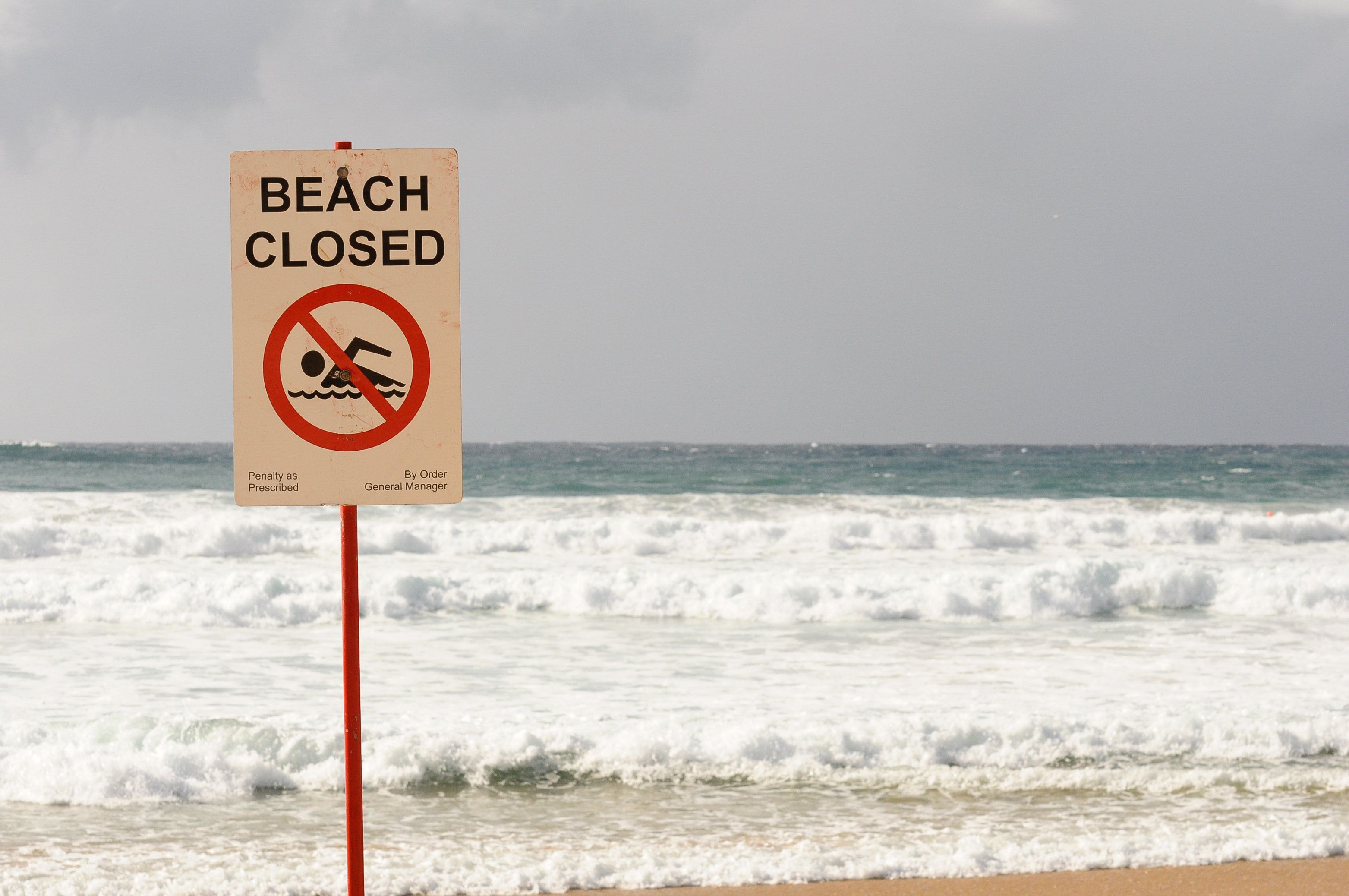 A sign with the statement 'beach closed' and the 'no swimming' symbol is showed at Manly Beach, Sydney, New South Wales, Australia.