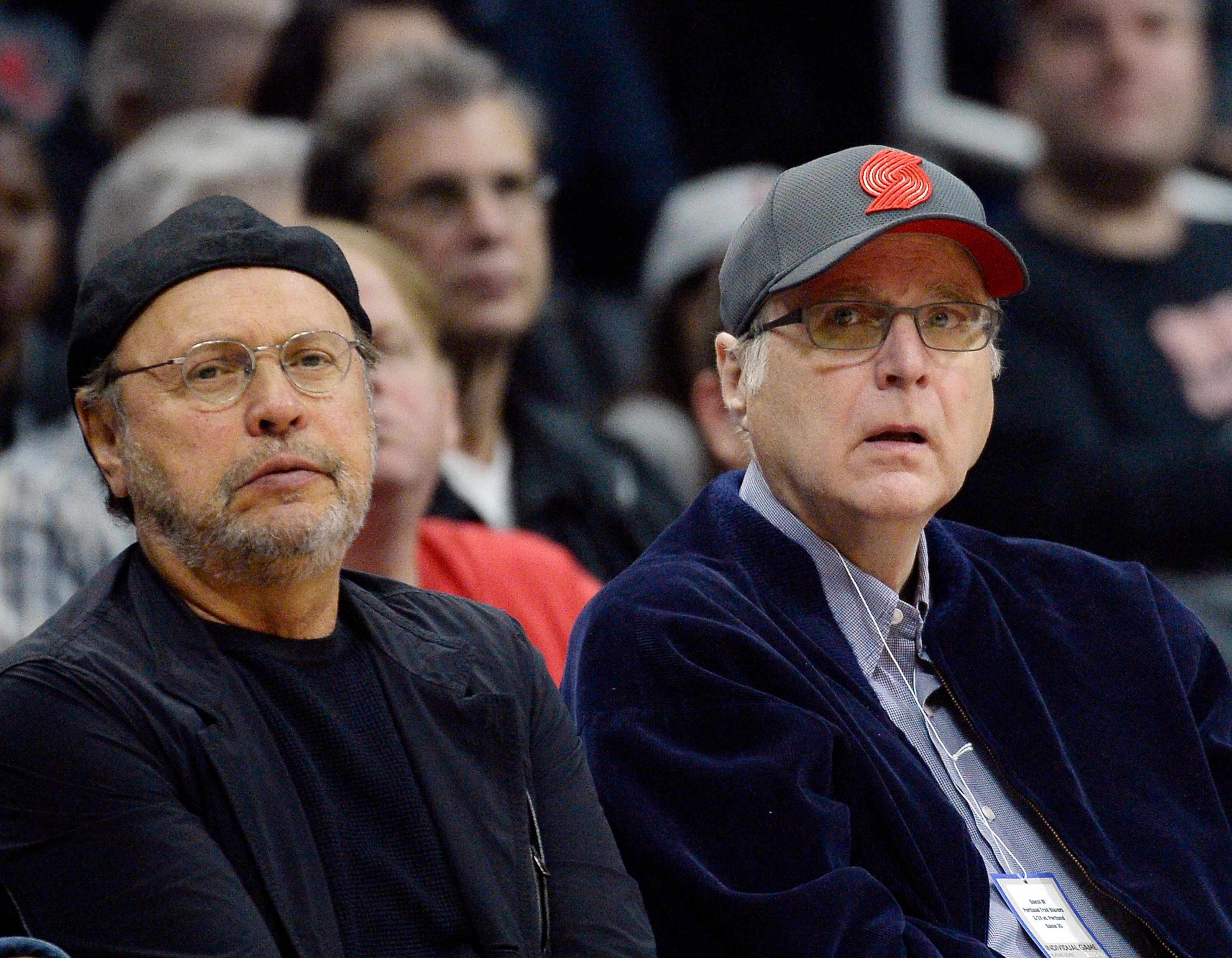 LOS ANGELES, CA - MARCH 24: Actor/comedian Billy Crystal (R) and Paul Allen, co-founder of Microsoft and owner of Portland Trail Blazers, attend Los Angeles Clippers and Portland Trail Blazers basketball game at Staples Center March 24, 2016, in Los Angeles, California.  (Photo by (Photo by Kevork S. Djansezian/GC Images)