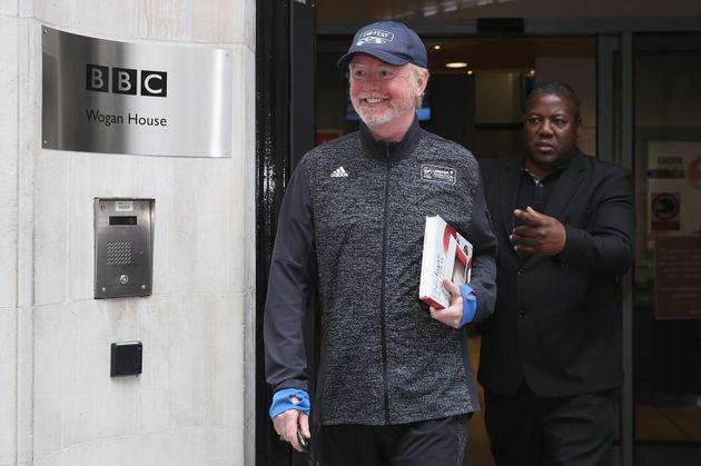 Chris leaving his BBC studio last