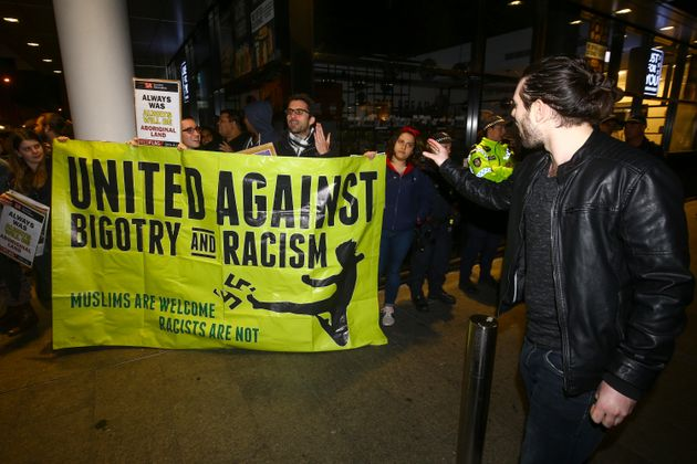 Protestors outside Perth Town