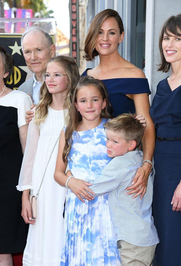 Jennifer Garner poses with her kids on Aug. 20, 2018, for her Hollywood Walk of Fame
