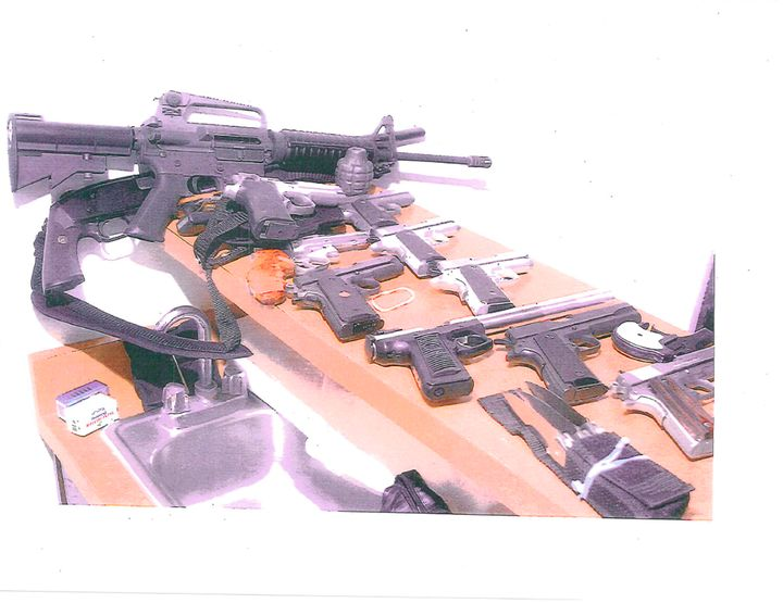 Various weapons seized from Bulger's apartment in Santa Monica, California, in July 2011. Two years later, he was convi