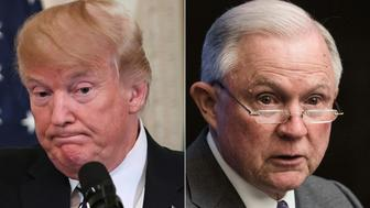 (COMBO) This combination of pictures created on August 1, 2018 shows US President Donald Trump(L)during a joint press conference in the East Room of the White House in Washington, DC, July 30, 2018, and US Attorney General Jeff Sessions addressing the National Sheriffs' Association opioid roundtable in Washington, DC, on May 3, 2018. - US President Donald Trump called August1, 2018 on Attorney General Jeff Sessions to end the investigation into Russia's interference in the 2016 US elections, calling it 'a disgrace to USA.' The president's latest tweet on the probe led by special counsel Robert Mueller came on the second day of a trial of former Trump campaign chairman Paul Manafort on unrelated bank and tax fraud charges.'This is a terrible situation and Attorney General Jeff Sessions should stop this Rigged Witch Hunt right now, before it continues to stain our country any further,' Trump said, calling Mueller's probe 'a disgrace to USA.' (Photos by SAUL LOEB and NICHOLAS KAMM / AFP)        (Photo credit should read SAUL LOEB,NICHOLAS KAMM/AFP/Getty Images)