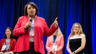 UNITED STATES - JUNE 23: Vangie Williams, Democratic candidate for the 1st congressional district of Virginia, speaks during the Women's Summit in Herndon, Va., on Saturday June 23, 2018. (Photo By Bill Clark/CQ Roll Call)