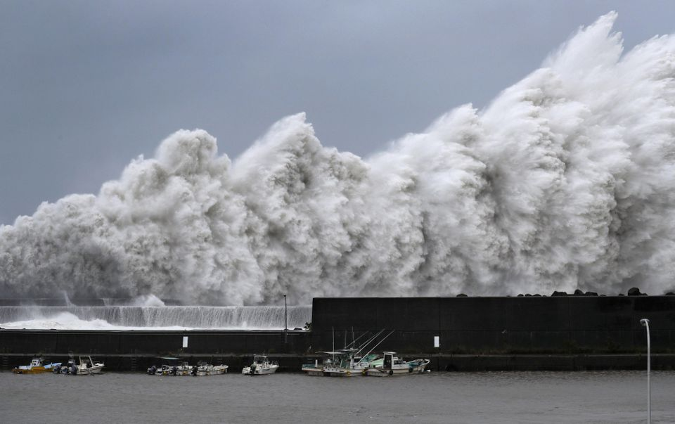 High waves triggered by Typhoon Jebi are seen at a fishing port in Aki, Kochi Prefecture, western