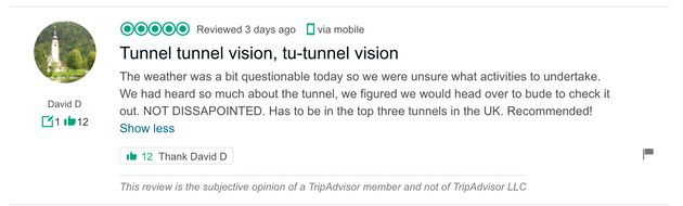 Bude Tunnel Becomes Town's Top-Rated Attraction Thanks To Tongue-In-Cheek TripAdvisor