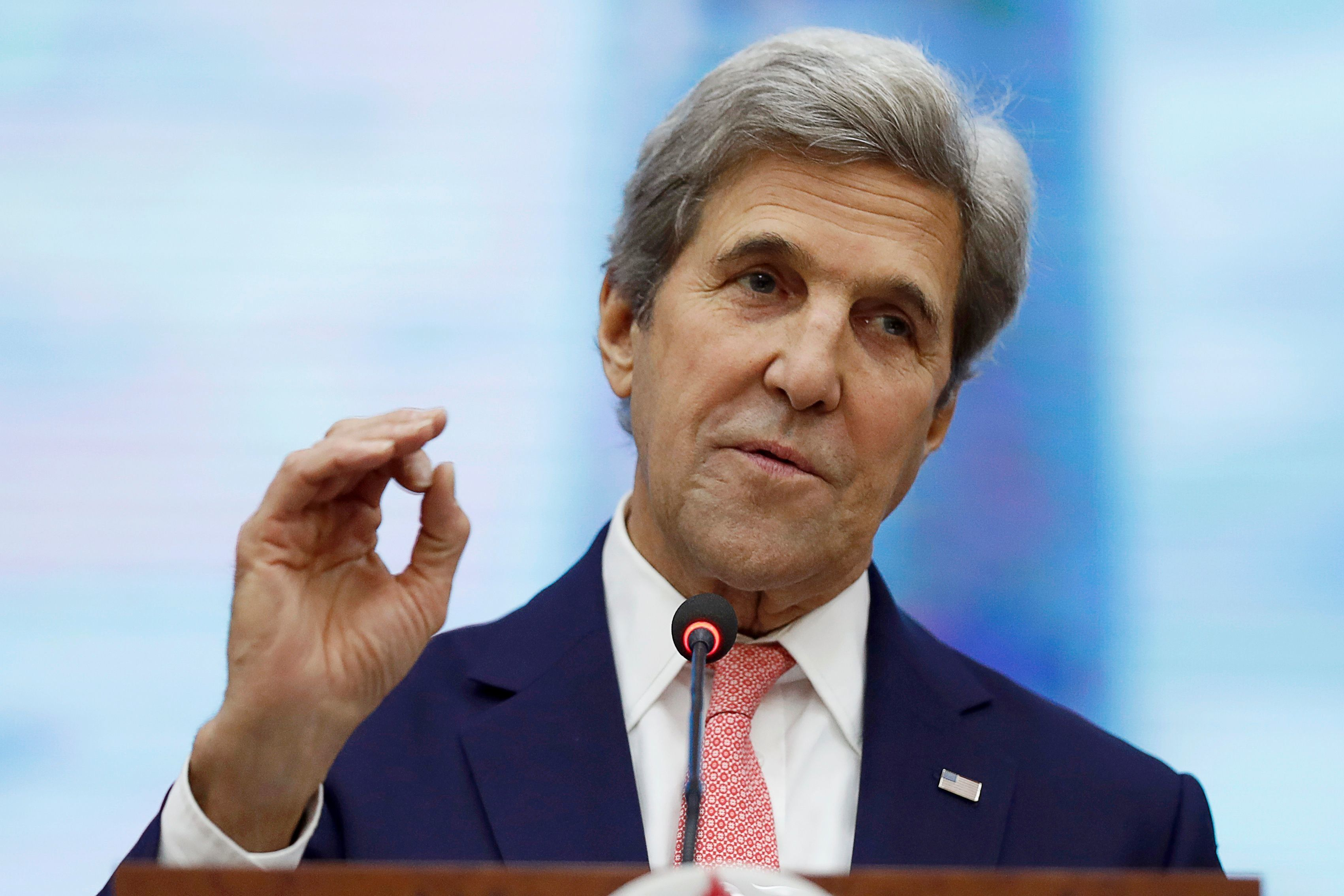 US Secretary of State John Kerry speaks at the Ho Chi Minh University of Technology and Education in Ho Chi Minh City on January 13, 2017.  US Secretary of State John Kerry began his farewell tour in Vietnam on January 13, giving a final push for Washington's so-called Asia pivot before President-elect Donald Trump takes office next week. / AFP / POOL / Alex Brandon        (Photo credit should read ALEX BRANDON/AFP/Getty Images)