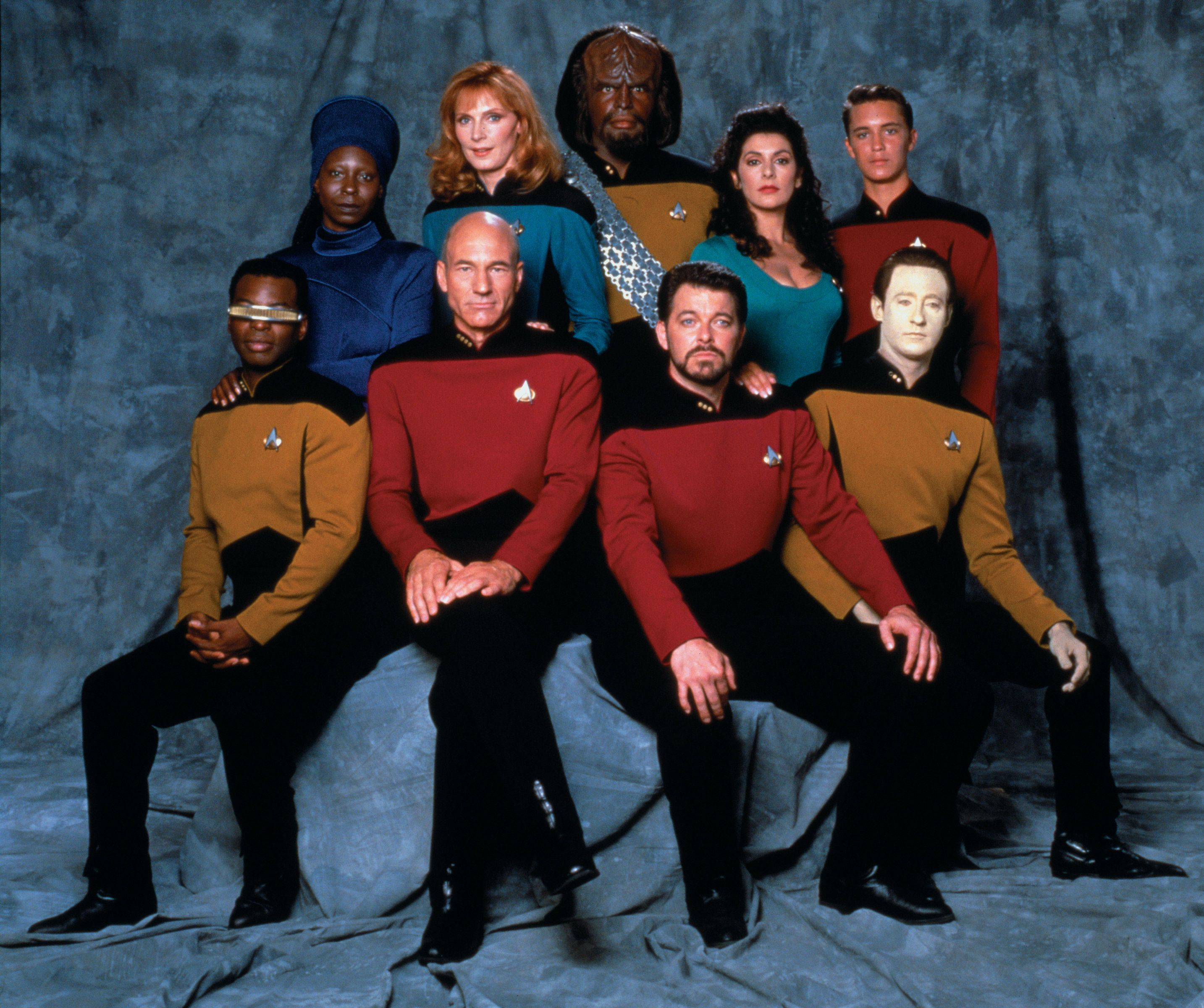 "The ""Star Trek: The Next Generation"" cast. From left, front row: LeVar Burton (Lieutenant Commander Geordi La Forge), Patrick"
