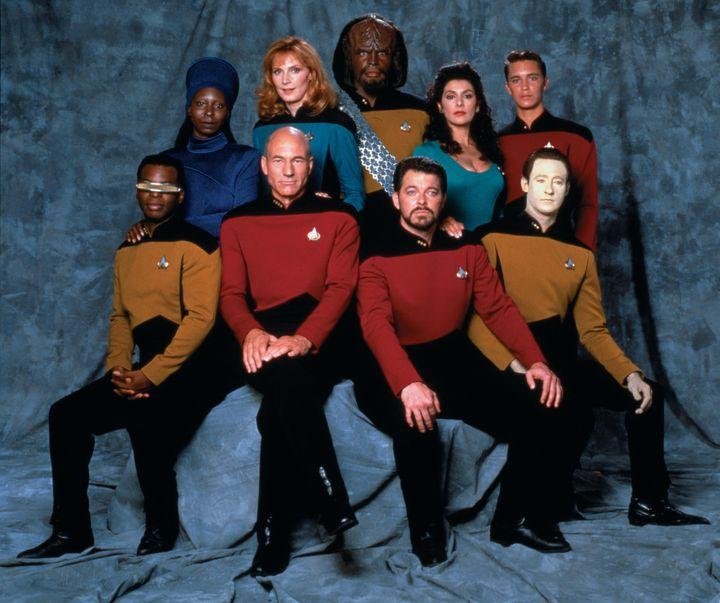 "The ""Star Trek: The Next Generation"" cast. From left, front row: LeVar Burton (Lieutenant Commander Geordi La Forge), Patrick"