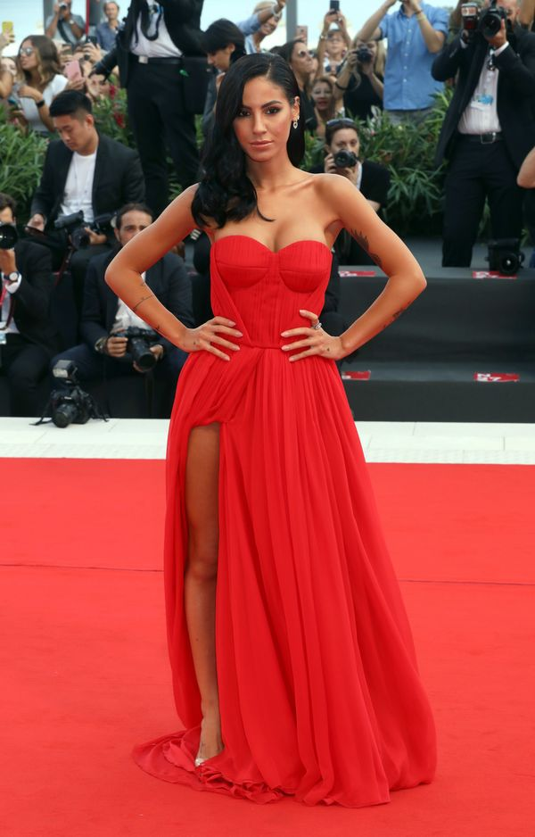 The TV personality wears a Blumarine gown ahead of the