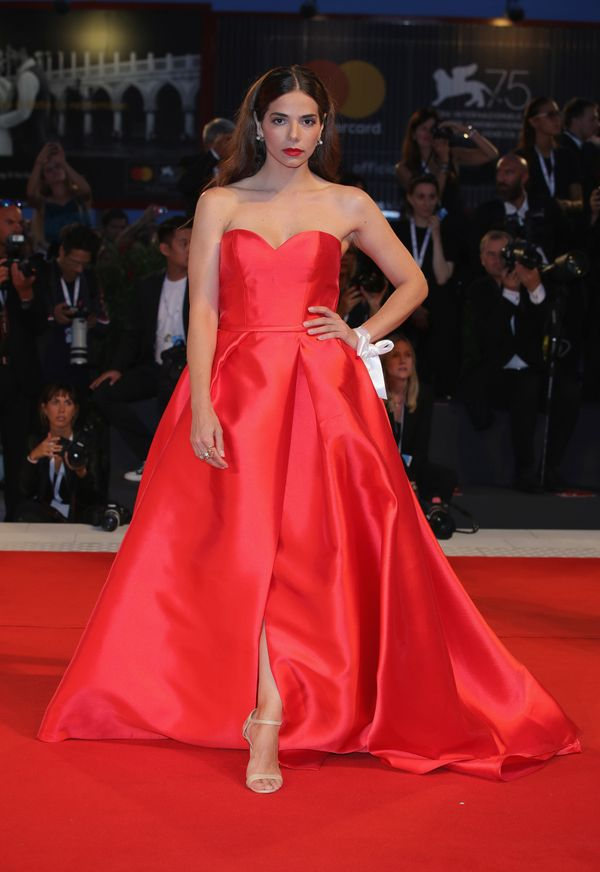 The actress wears a Pronovias gown on the red carpet for