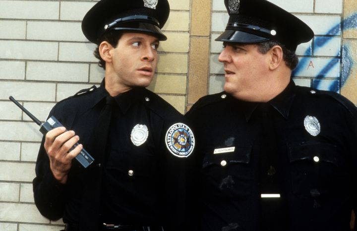 "Steve Guttenberg, left, in ""Police Academy 2: Their First Assignment."""