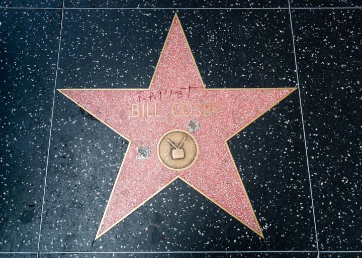 Bill Cosby's star on the Walk of Fame in Los Angeles on Aug. 28, 2018. It was vandalized again on Sept. 3.