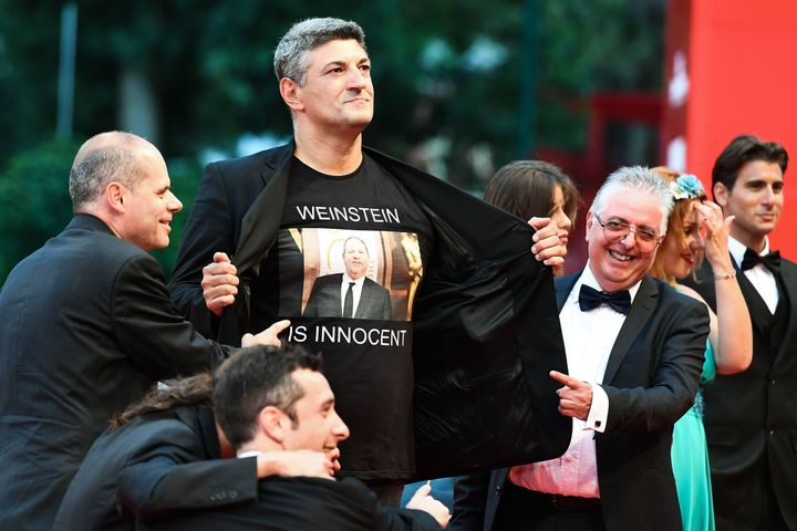 The Italian directorLuciano Silighini Garagnani wore a T-shirt in support of Harvey Weinstein on the Venice Film Festival red carpet this weekend.