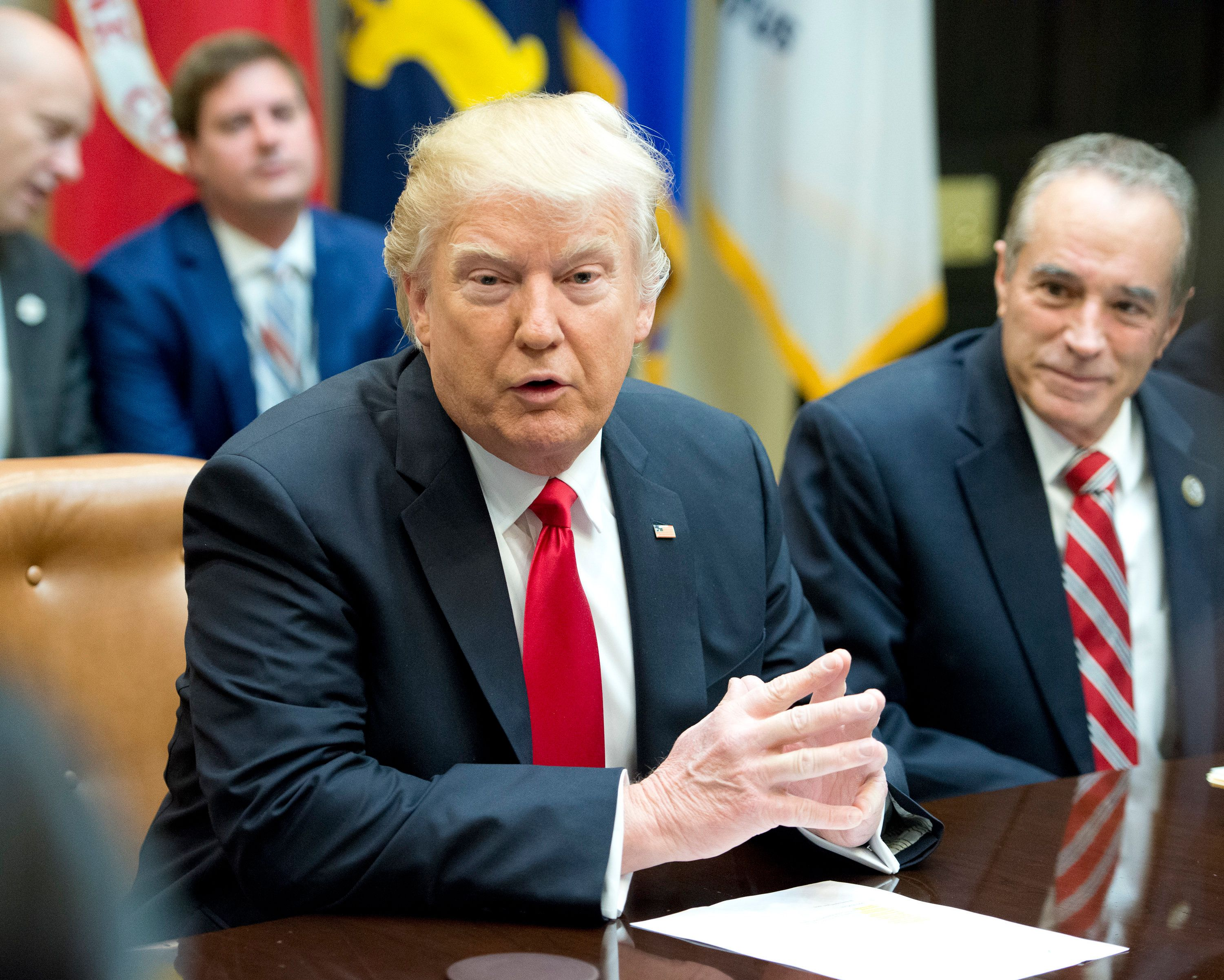WASHINGTON, D.C. - FEBRUARY 16:  (AFP-OUT) President Donald Trump participates in a congressional listening session with GOP members in the Roosevelt Room of the White House February 16, 2017 in Washington, DC.  Also pictured is Rep. Chris Collins (R-NY). (Photo by Ron Sachs-Pool/Getty Images)