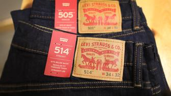 MIAMI, FL - MAY 31:  Levi's clothes are seen on the day President Donald Trump placed tariffs on steel and aluminum imports and European Union responded by warning that it would target iconic American brands such as Levi's on May 31, 2018 in Miami, Florida. European Commission President Jean-Claude Juncker said the European Union was prepared to respond to the U.S. tariffs by targeting imports of Harley-Davidson Inc. motorbikes, Levi Strauss & Co. jeans and bourbon whiskey.  (Photo by Joe Raedle/Getty Images)