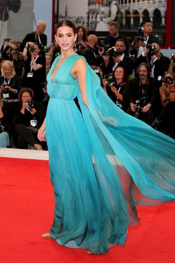 The Brazilian actress wears Alberta Ferretti at the